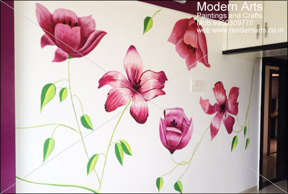 Wall Graphics In Pune Tree Painting For Bedroom Flowers