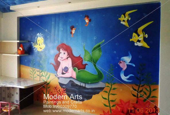 Wall Design For Kids removable rainbow alphabets bold modern and minimalist wall decal wall sticker wallpaper suitable Aquarium Painting For Kids Room Design Pune