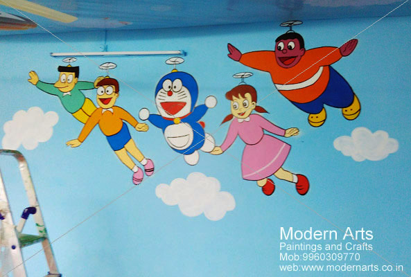 doremon cartoon painting on wall for children bedroom pune - Cartoon Painting For Kids