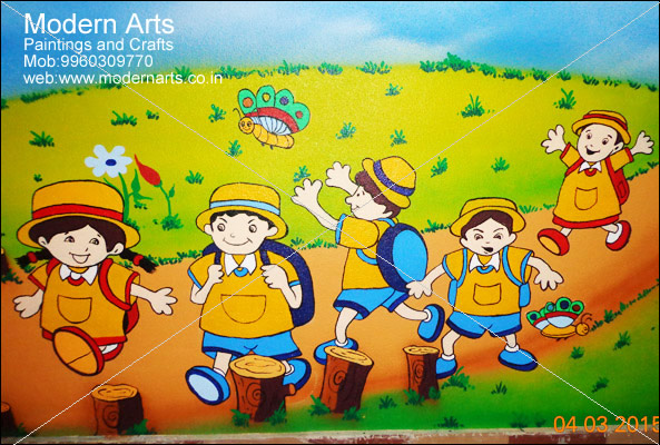 Modern arts paintings crafts does school wall painting for Cartoon mural painting