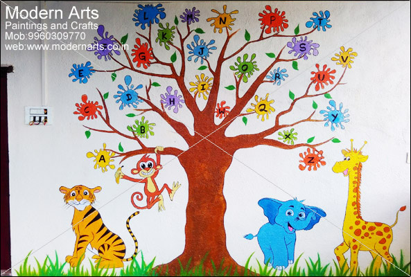 Modern Arts Paintings & Crafts Does School Wall Painting In Pune