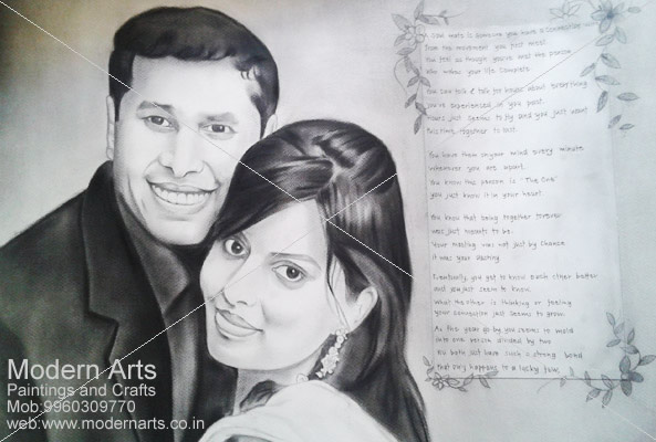 Charcoal painting · couple pencil sketch artist in mumbai · collage pencil sketch