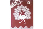 Peacock warli painting on canvas wtih frame in pune